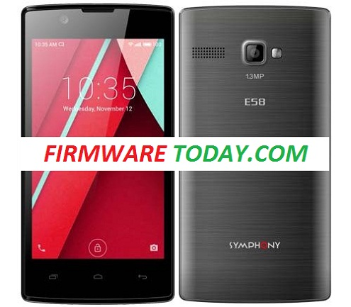 Symphony E58 flash file Free firmware Rom