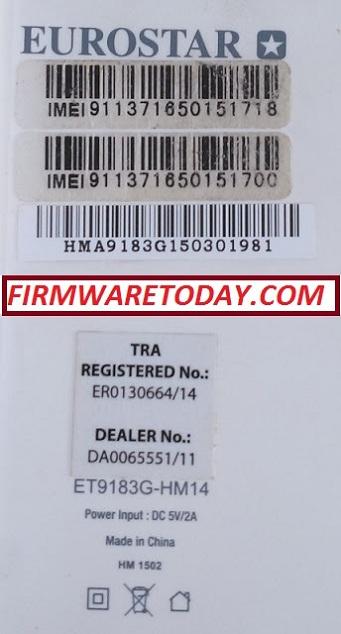 EUROSTAR ET9183G-HM14 Flash File Free Firmware (MT6572) 100% Work