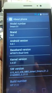 Dream D1 flash file firmware Stock ROM (MTK6572)